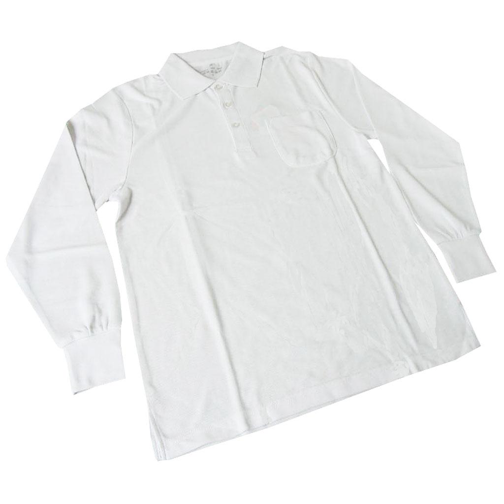 TOP JOHN 長袖ポロシャツ メンズ 鹿の子織り ホワイト NP36  S 3L
