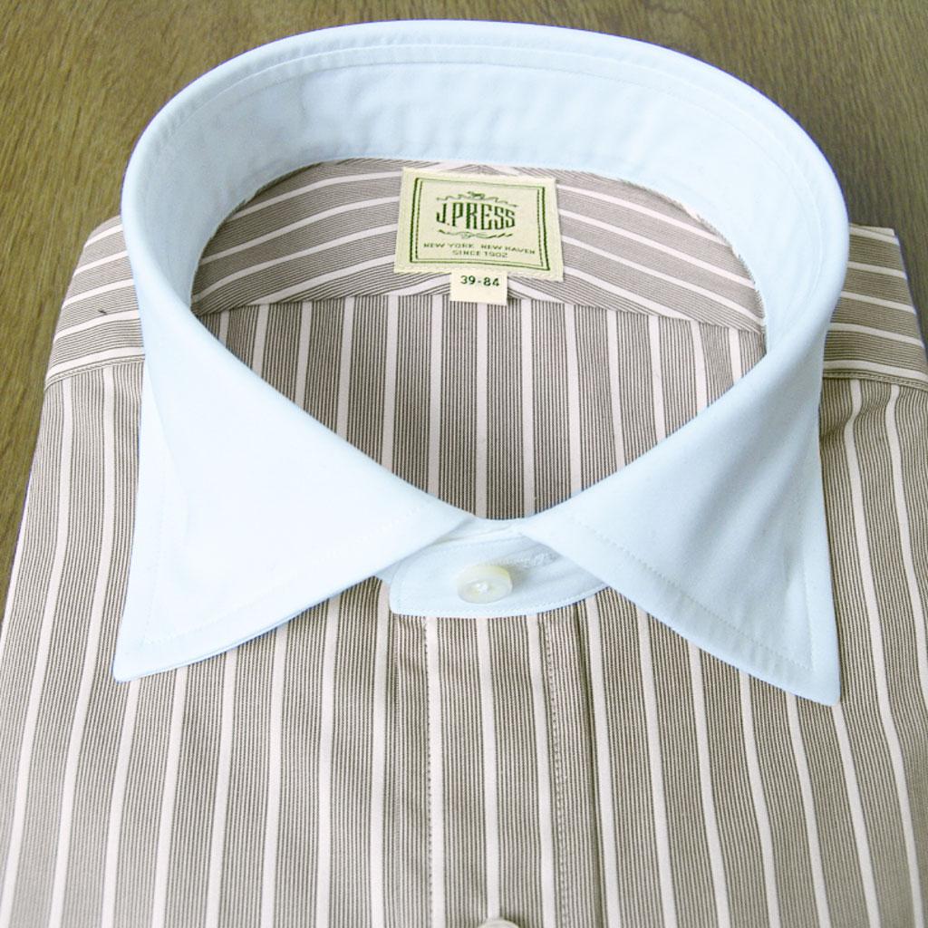 J.PRESS(ジェイプレス) クレリックカラーシャツ メンズ 長袖ワイシャツ ブラウン系 ストライプ 130 (衿41-裄丈85cm)