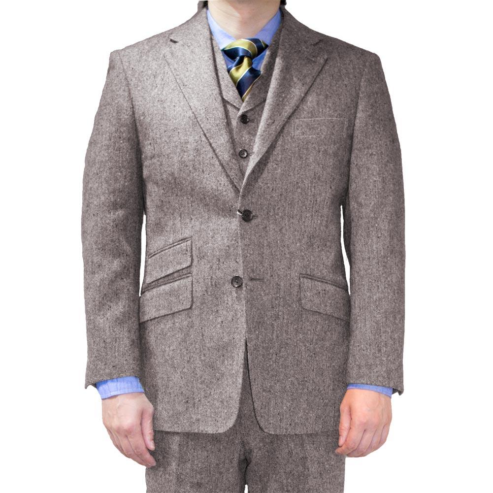 OXFORD CLASSIC(オックスフォードクラシック) 3ピーススーツ メンズ 秋冬 ホームスパン ウール100% 段返り3つボタン ブラウン系 0655 A3 A5 A6 A7 A8 AB3 AB4 AB5 AB6 AB7 AB8 BB5