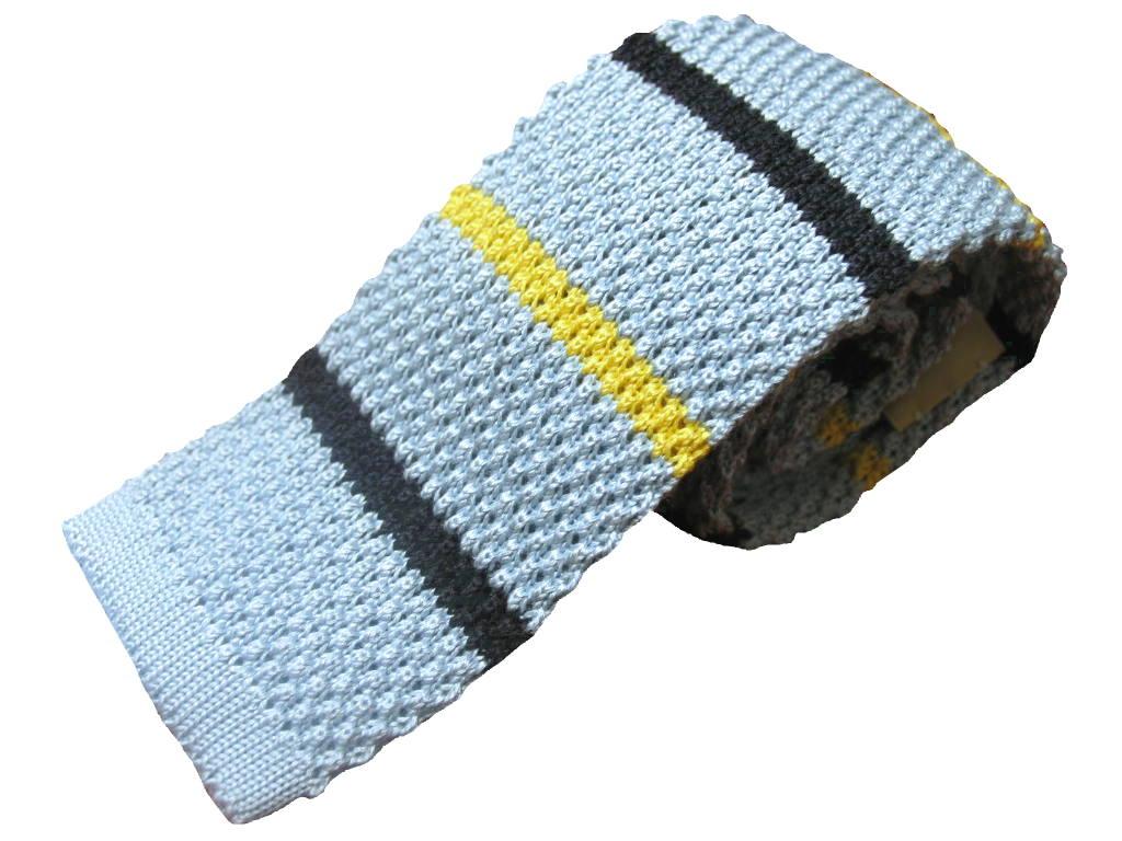 MARKS(マークス) ニットタイ メンズ ボーダー シルク100% ライトブルー MN51