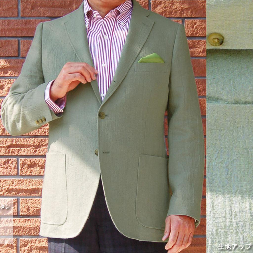 春夏 ジャケット シワ加工 カーキ系 3つボタン OXFORD CLASSIC PremiumLine 【麻100%】 メンズ ブレザー 3612  A5 A6 A8