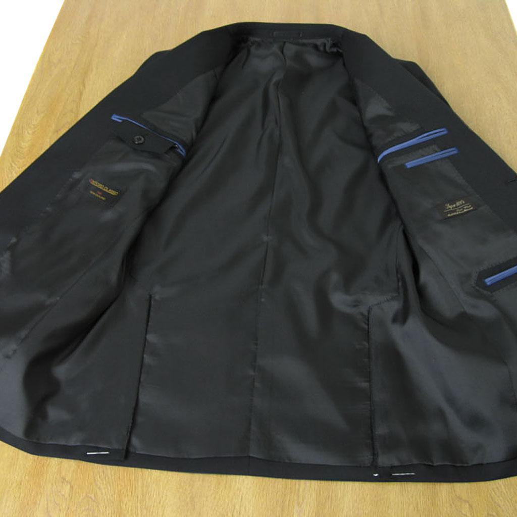 【キングサイズ】OXFORD CLASSIC(オックスフォードクラシック) 黒ブレザー メンズ 秋冬春 英国調 段返り3つボタン チェンジポケット付き メタルボタン ウール100% 黒無地 ブラック 0009 E4 E5 E6 E7 E8