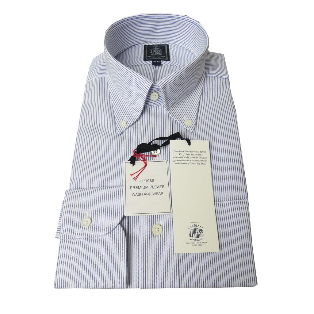 J.PRESS(ジェイプレス) ボタンダウンシャツ メンズ長袖シャツ ピンオックス ブルー ストライプ  1175 (衿37cm-裄丈82cm)