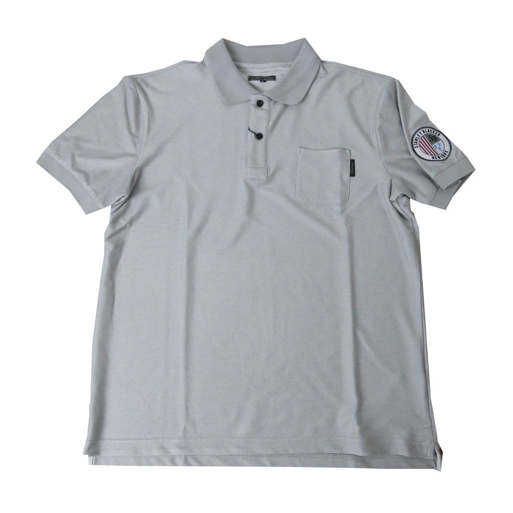 送料無料 stanley blacker ポロシャツ メンズ 春夏 半袖 ワッペン付き グレー系 1415 M L
