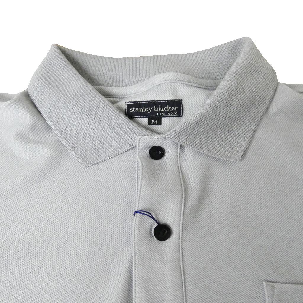 送料無料 stanley blackerの半袖 ワッペン付きポロシャツ グレー系 1415 M L 3L