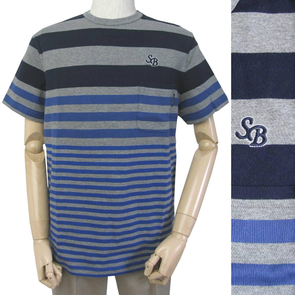 stanley blacker(スタンリーブラッカー) Tシャツ メンズ 春夏 ボーダー ブルー 1182 LL