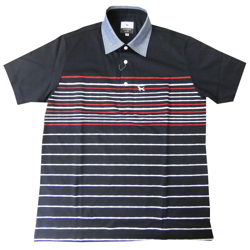 KEN COLLECTION CLASSIC(ケンコレクションクラシック) 半袖ポロシャツ メンズ 紺×白×赤 ボーダー 0599 M  L