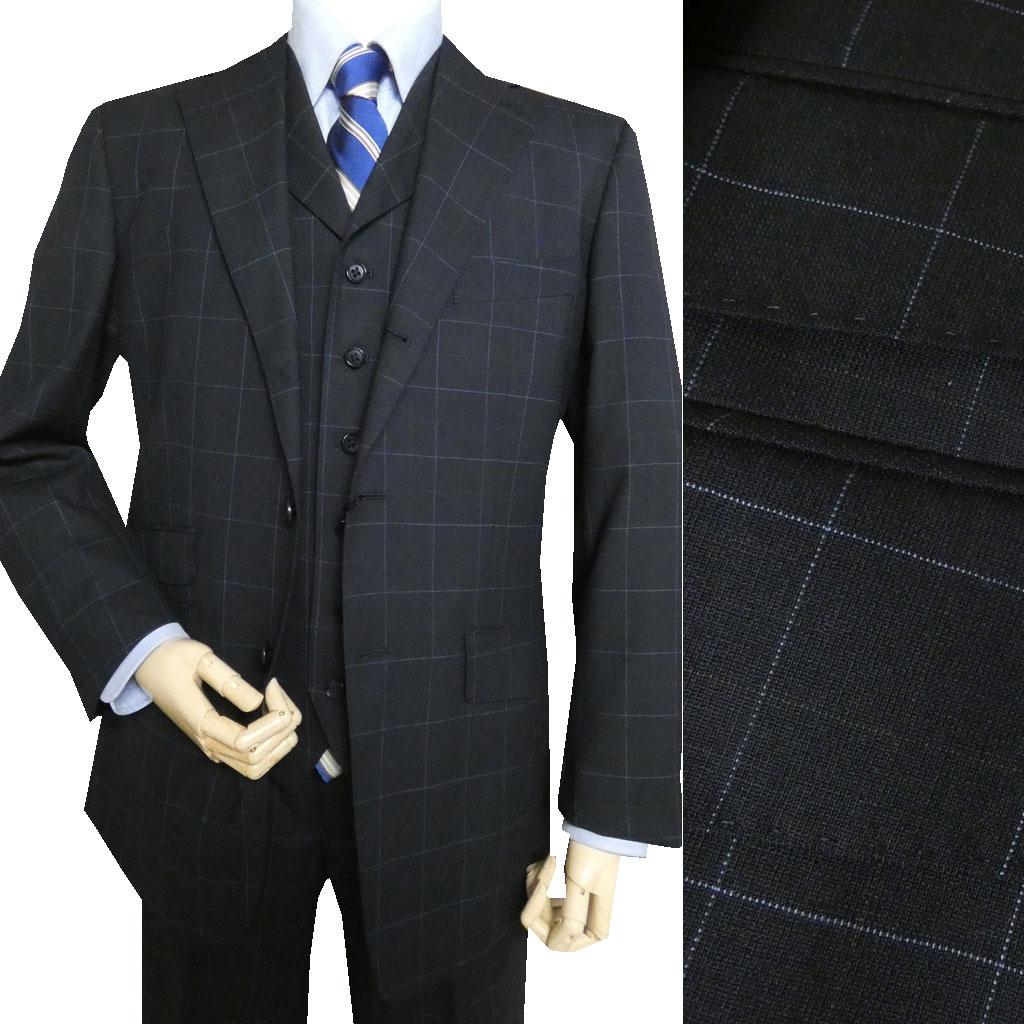OXFORD CLASSIC(オックスフォードクラシック) 3ピーススーツ メンズ 春夏秋 ネイビー オーバーペンチェック 紺 0088 A3 A6 A7 A8 AB4 AB5 AB7 AB8 BB8