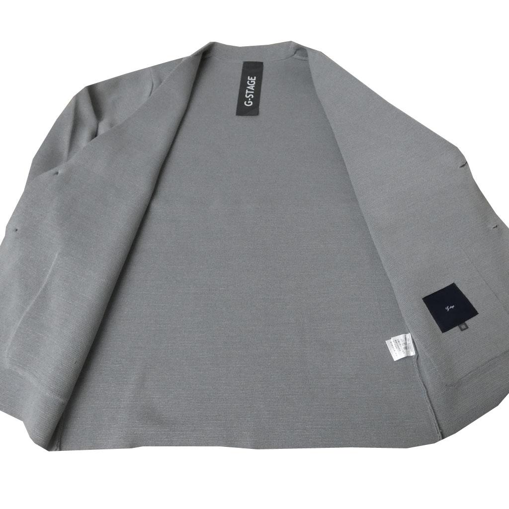 G-stageのミラノリブ 春夏ニットジャケット メンズ ミディアムグレー 5003 M L