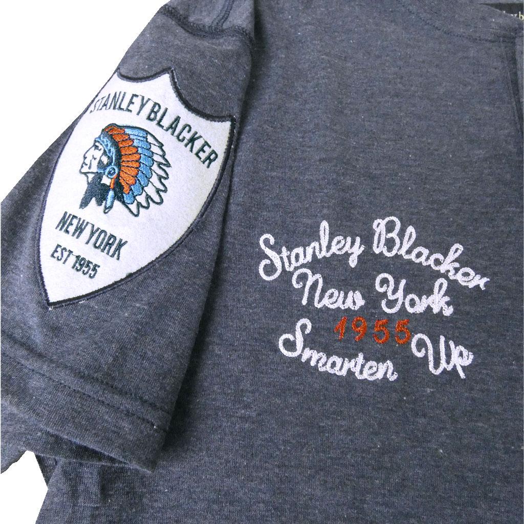 stanley blacker(スタンリーブラッカー) メンズ 春夏 エンブレムTシャツ ヘンリーネック ネイビー 1282 M