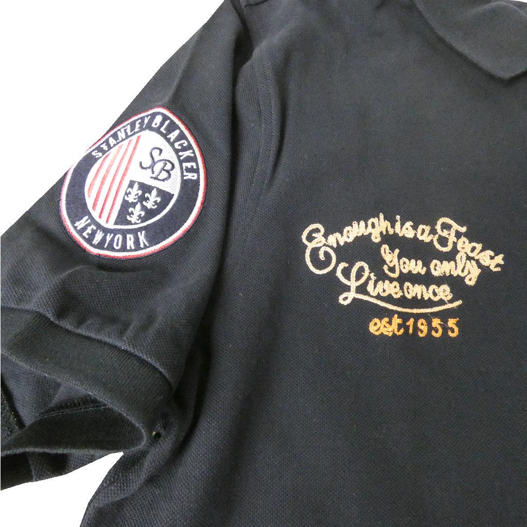 stanley blackerの半袖 ワッペン付き ポロシャツ ネイビー 1388 LL