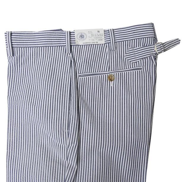 J.PRESS(ジェイプレス) パンツ メンズ 春夏 スラックス シアサッカー ノータック 尾錠付き サックスブルー 170 78cm