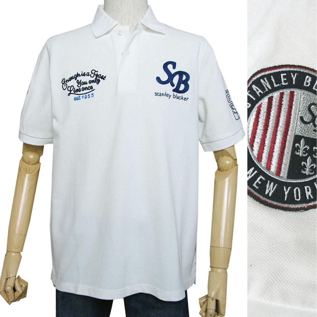送料無料 stanley blackerの半袖 ワッペン付き ポロシャツ ホワイト 1305 L LL