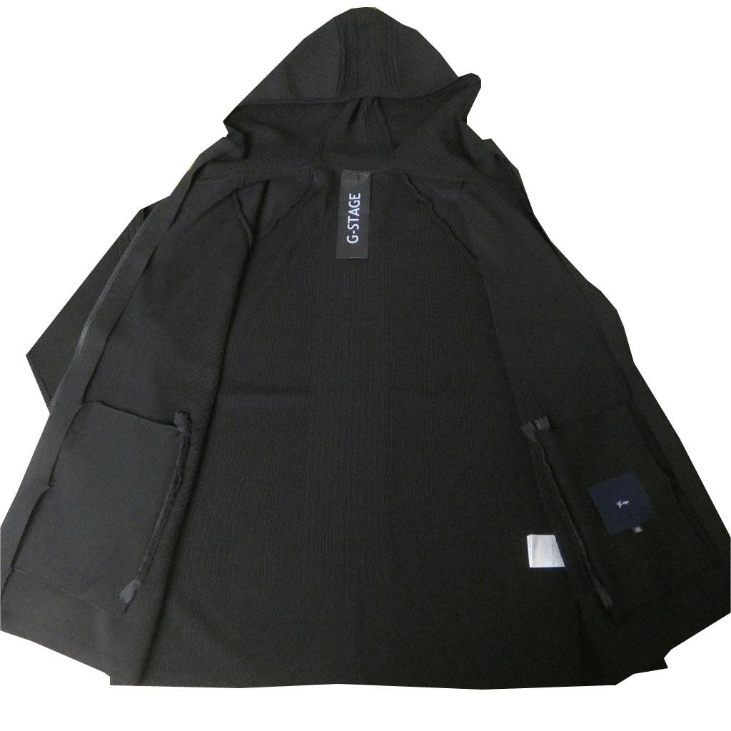 G-stageの 春夏フード付き ニットパーカー メンズ ブラック 5011 M L