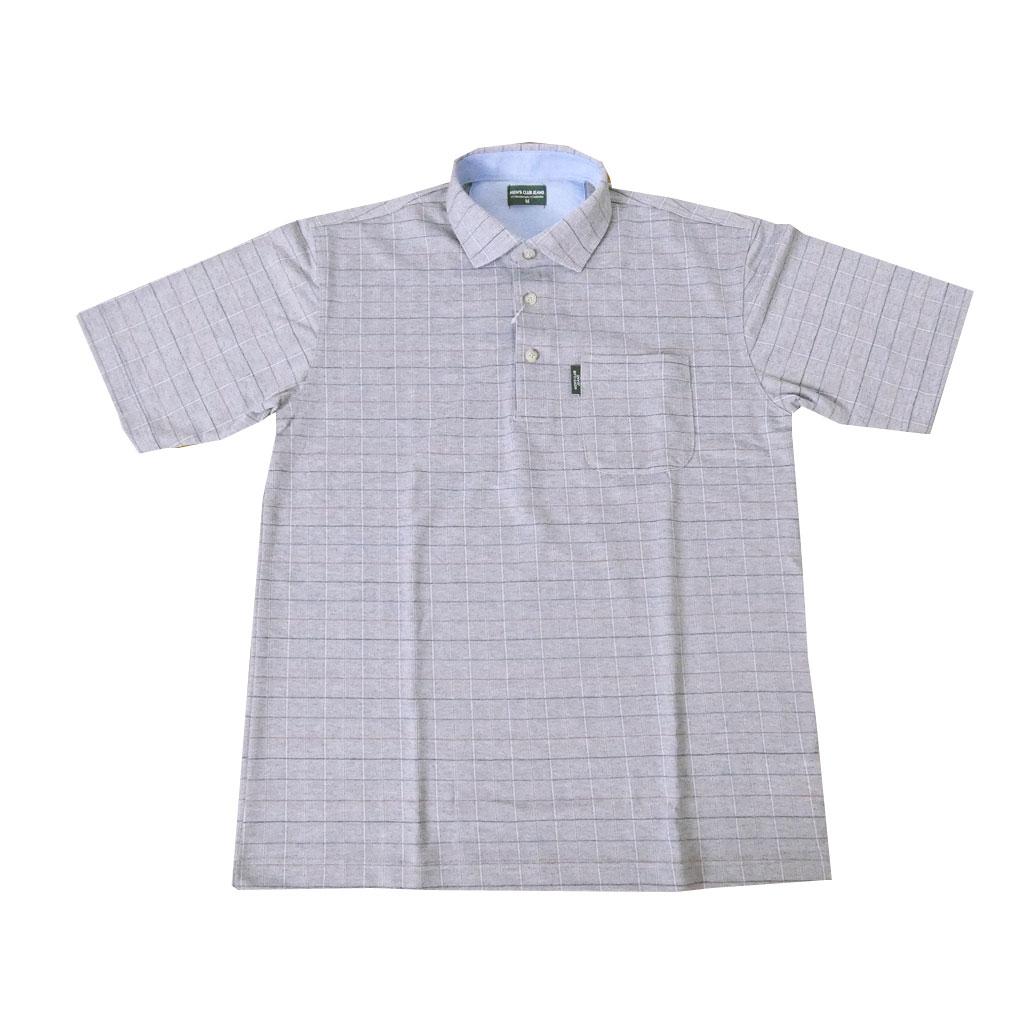MENS CLUB JEANS ポロシャツ メンズ 春夏 半袖 ミディアムグレーチェック 2058 M