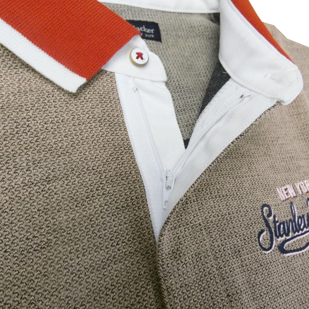 stanley blackerの長袖 ワッペン付き ポロシャツ メンズ ブラウン系 2452 送料無料 L LL