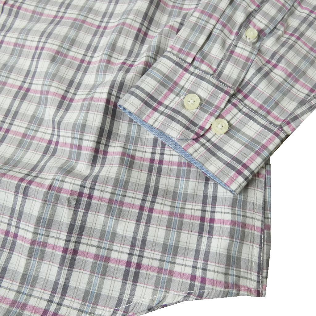 MENS CLUB JEANS の長袖BDシャツ ピンク×ブルー チェック 2928  L