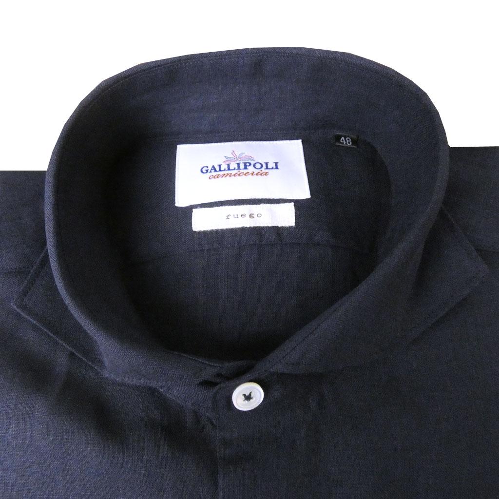 [GALLIPOLI camiceria(ガリポリカミチェリア)] 長袖シャツ メンズ ホリゾンタルカラー 麻100% ネイビー 0010 M