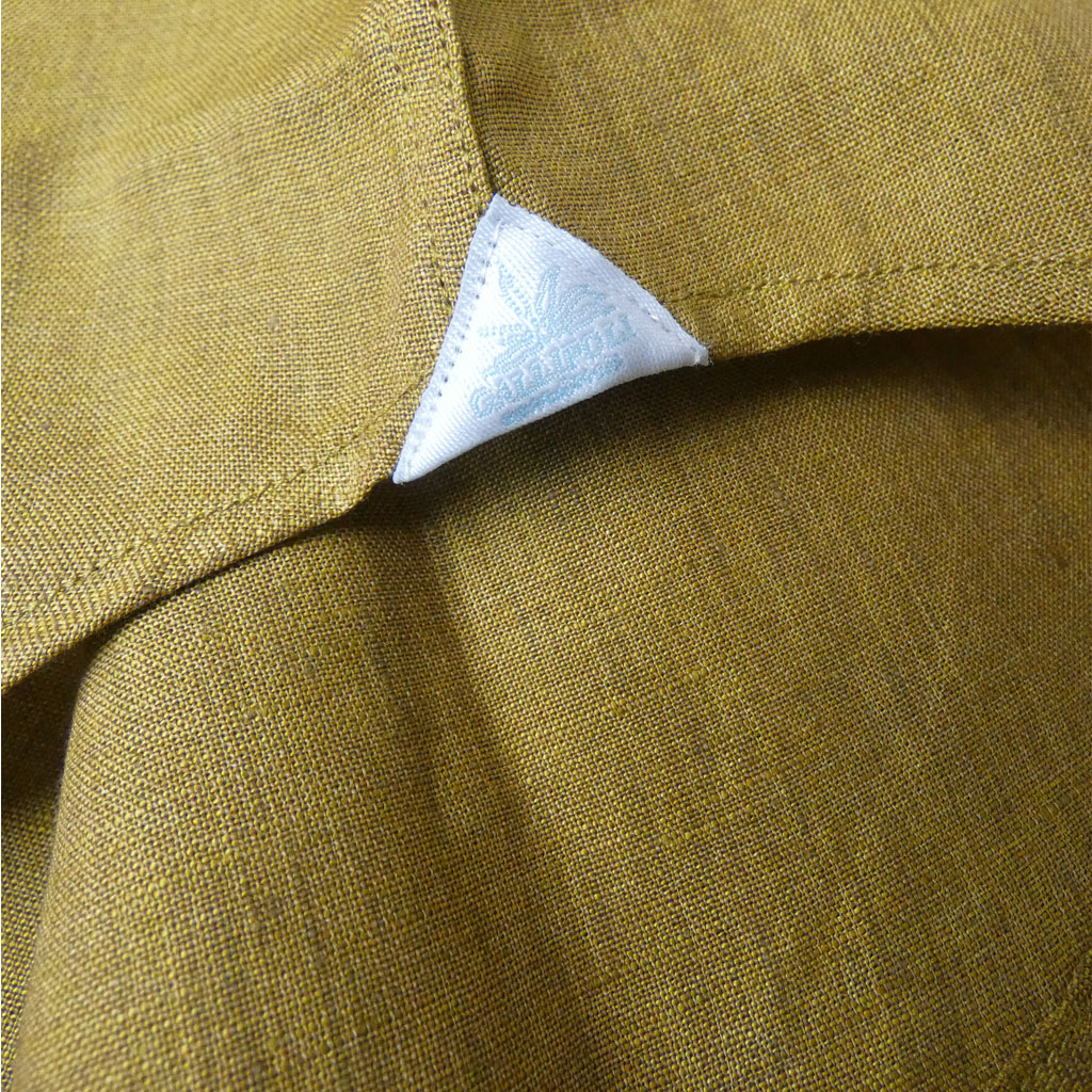 GALLIPOLI camiceria(ガリポリカミチェリア) 長袖シャツ メンズ ホリゾンタルカラー 麻100% マスタードカラー 0015 L XL