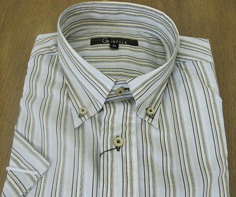 GE-STYLEのメンズ 半袖 ボタンダウン シャツ 979  M(衿39cm)