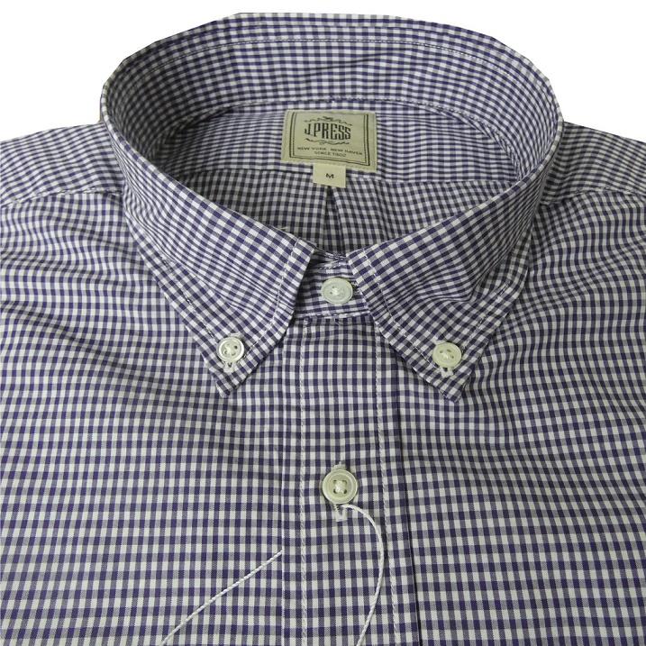 J.PRESS(ジェイプレス) ボタンダウンシャツ メンズ長袖シャツ パープルチェック ギンガムチェック  6380  (M 衿39cm-裄丈84cm)(L 衿41cm-裄丈85cm)(XL 衿43cm-裄丈86cm)
