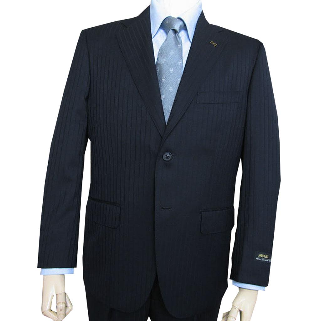 MIYUKI(ミユキ) スーツ メンズ 秋冬 2つボタン 濃紺ストライプ 0313 AB7