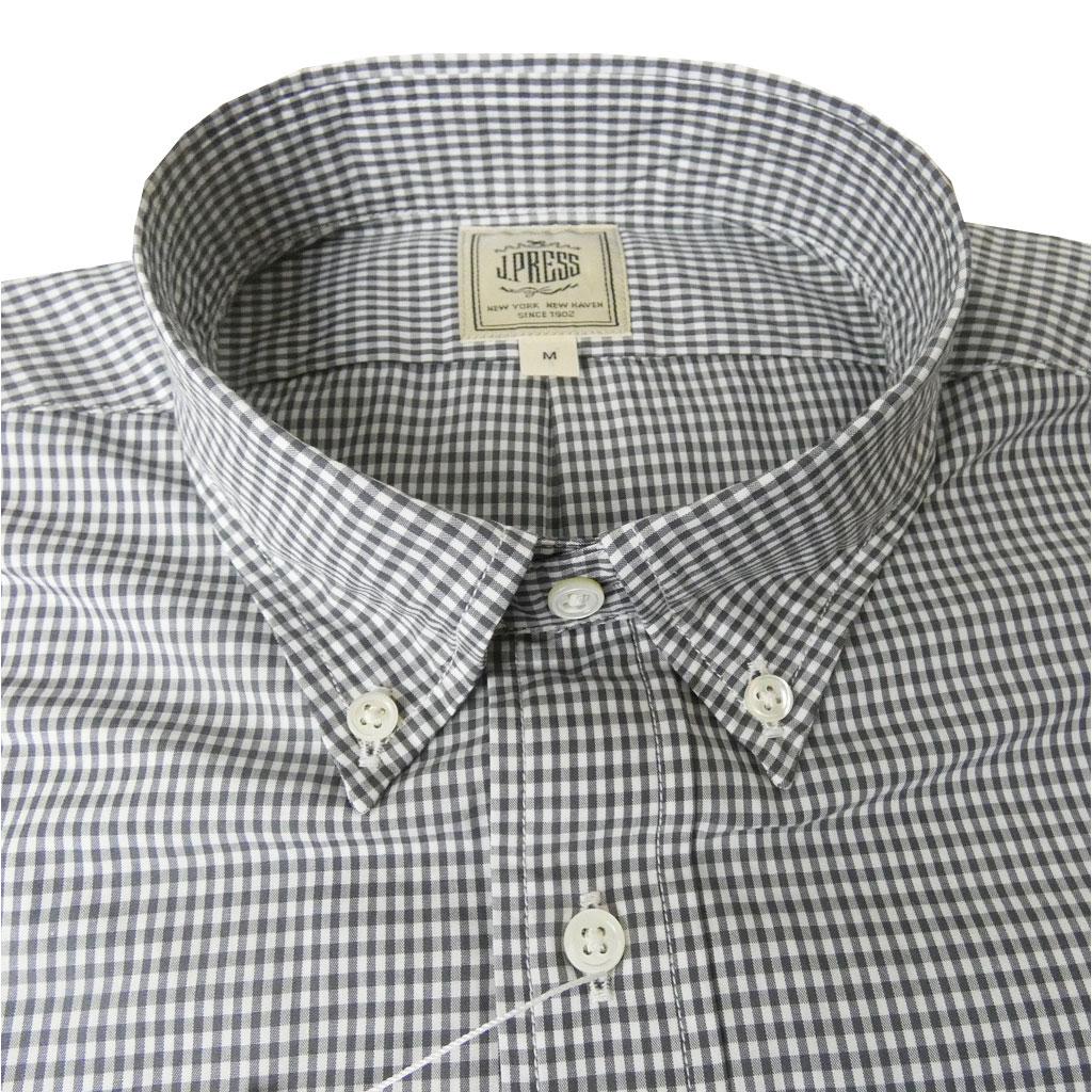 J.PRESS(ジェイプレス) ボタンダウンシャツ メンズ長袖シャツ グレー ギンガムチェック  6304 (L 衿41cm-裄丈85cm)