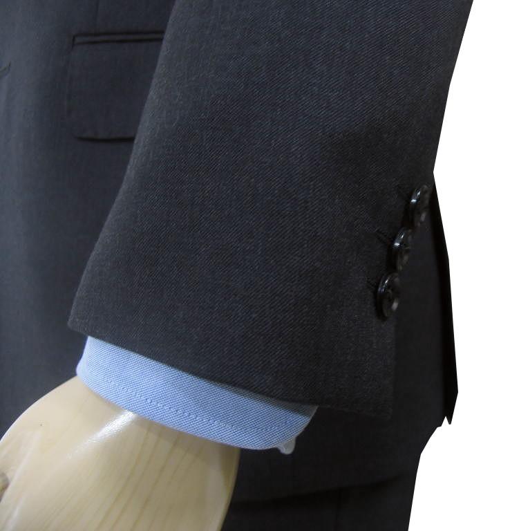 秋冬 スリーピース(襟無しベスト)チャコールグレー 無地 2つボタン 【ウール100%】【ベスト抜き可】 メンズ ビジネス OXFORD CLASSIC 1118  A8 BB4