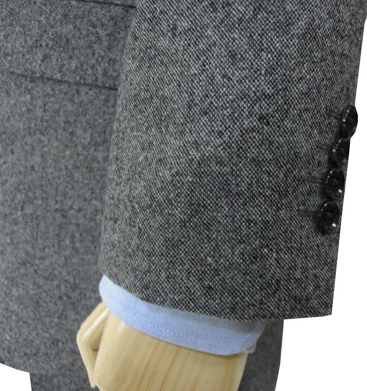 秋冬 スリーピース ホームスパン グレー 英国調 3つボタン 【チェンジポケット付】【ウール素材】【ベスト抜き可】 メンズ ビジネス OXFORD CLASSIC 0818  AB3