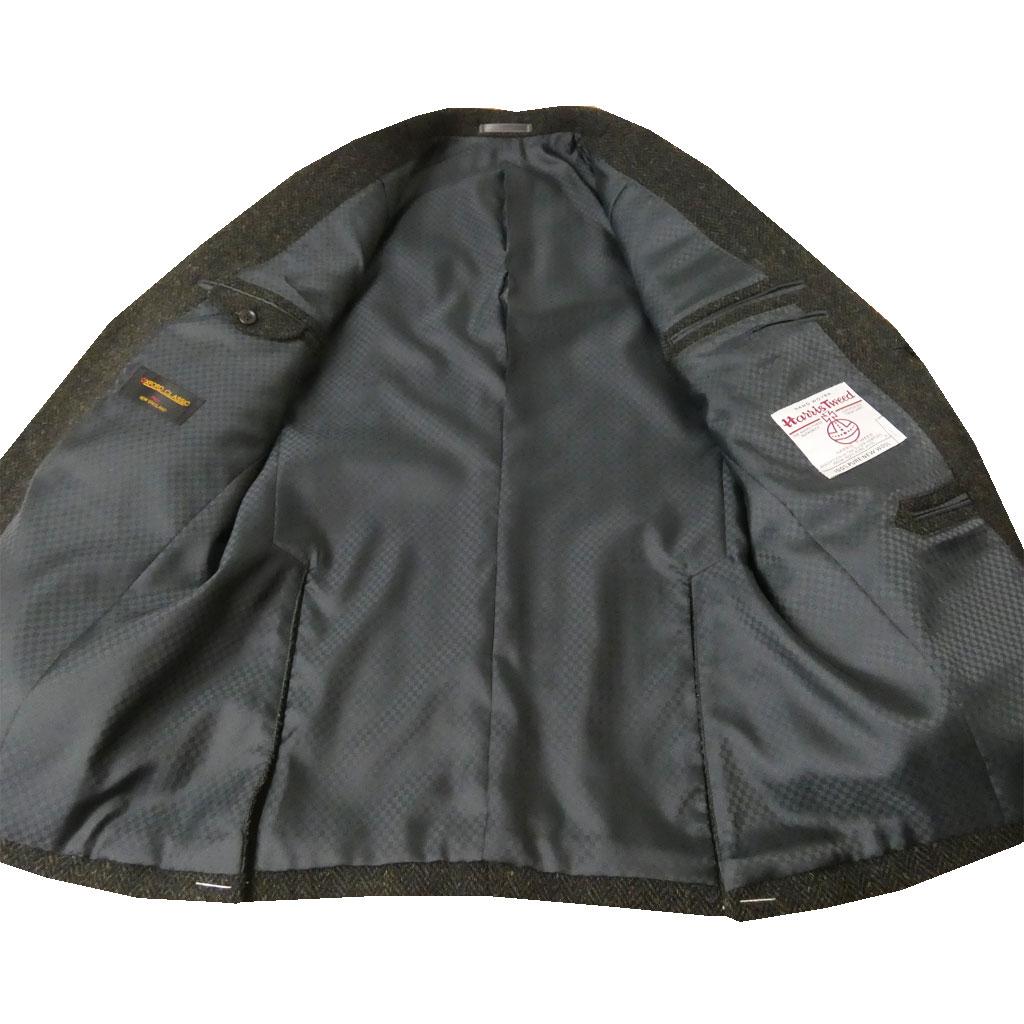 秋冬 ハリスツイード ジャケット カーキ系 MIXヘリンボーン 2つボタン メンズ ブレザー OXFORD CLASSIC 1178 AB3 AB4 AB5 AB7 AB8 BB4 BB6 BB7