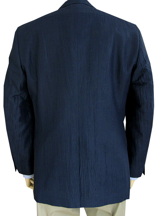 HAI-VASERONの春夏 2つボタン 麻混 シワ加工ジャケット ネイビー  1413   A7 AB7