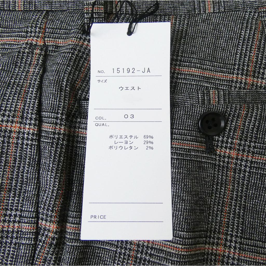 HAI-VASERON 秋冬春 ノータックパンツ チャコールグレーグレンチェック オレンジ オーバーペン  9203  79cm 82cm 85cm 88cm 91cm 94cm 97cm 100cm