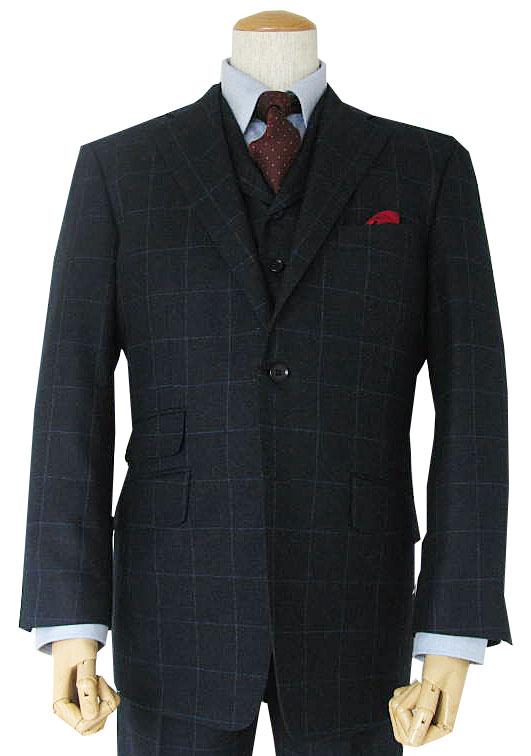 TheoDore(セオドール) 3ピーススーツ メンズ 秋冬 段返り3つボタン ウインドペンチェック 紺 0288 A8 AB3