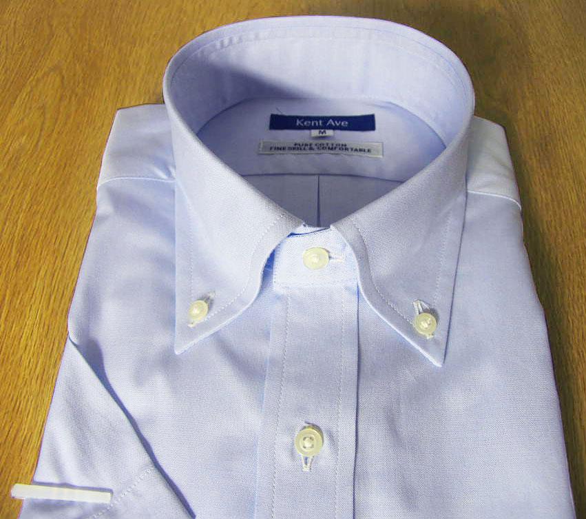 Kent Ave(ケントアベニュー) ボタンダウンシャツ メンズ 春夏 半袖 ブルー ピンオックスフォード 2717 M L LL