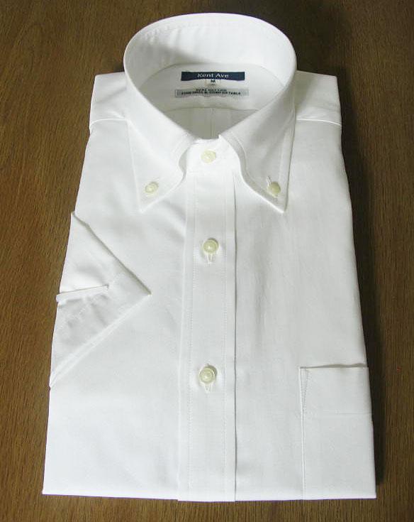 Kent Ave(ケントアベニュー) ボタンダウンシャツ メンズ 春夏 半袖ワイシャツ ピンオックスフォード ホワイト 271 S M LL