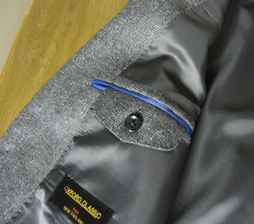 秋冬春 スリーピース ミディアムグレー  シルク入り ネップ柄 0415 英国調 段返り3つボタン 【チェンジポケット付】【ベスト抜き可】 メンズ ビジネス OXFORD CLASSIC   A6