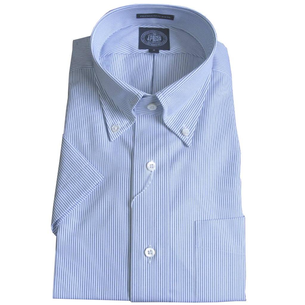 【形態安定】J.PRESS(ジェイプレス) ボタンダウンシャツ メンズ 春夏 半袖 ブルー ピンストライプ 1175 M L