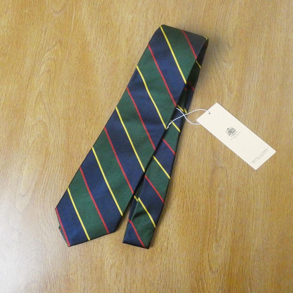 J.PRESS(ジェイプレス) ネクタイ 絹100% レジメンタル  紺×緑×赤×黄 TR03