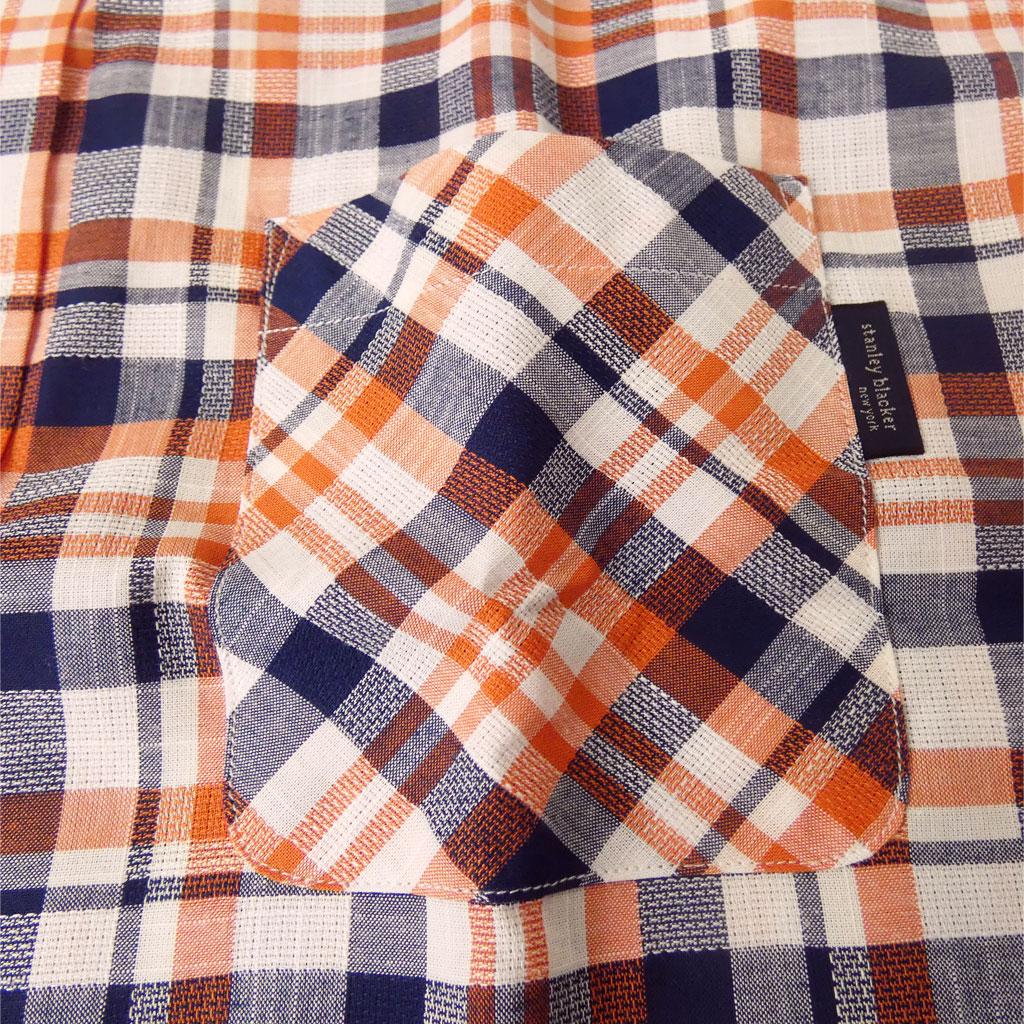 stanley blacker(スタンリーブラッカー) 半袖シャツ メンズ 春夏 ボタンダウン チェック オレンジ×ネイビー×ホワイト 0545 L LL 3L