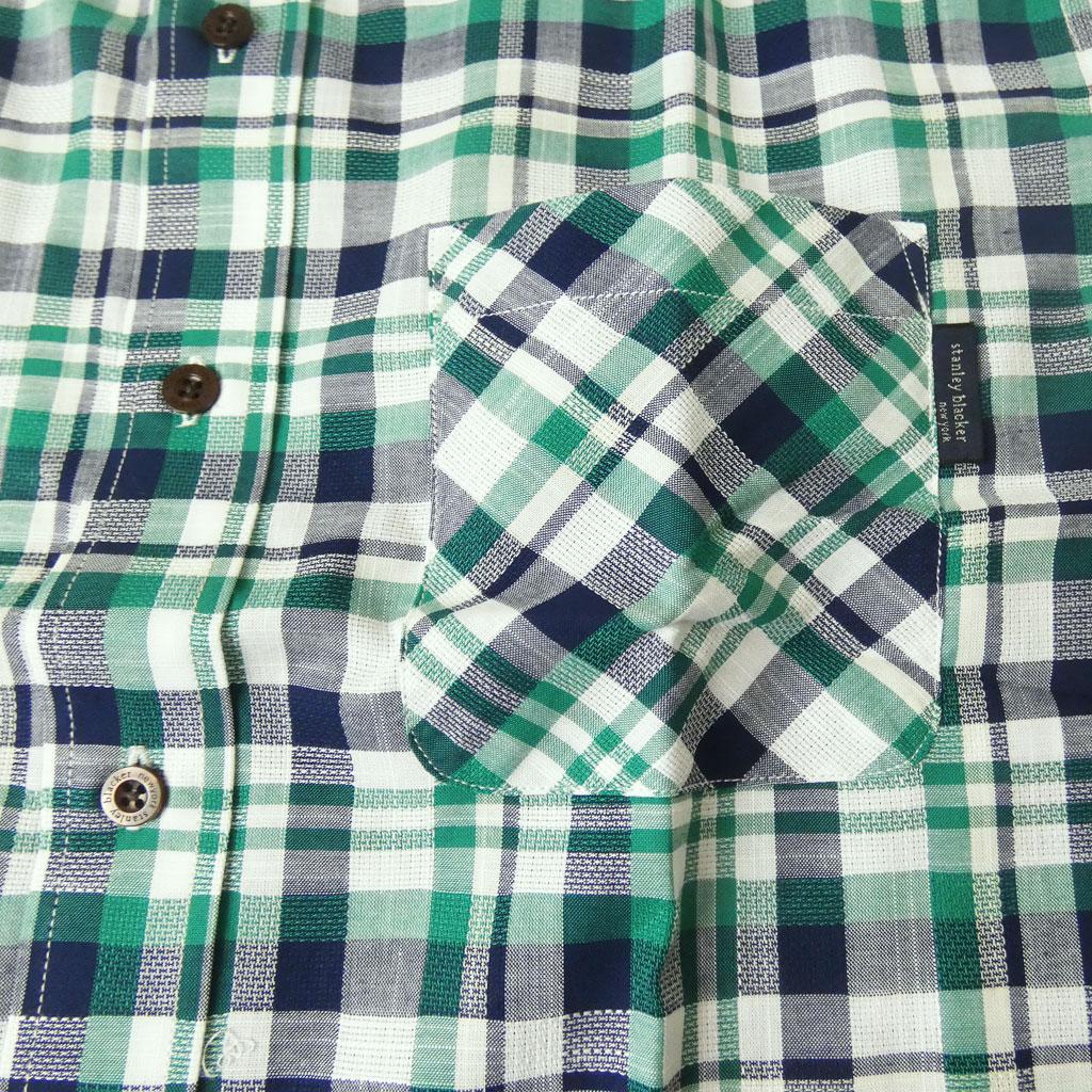 stanley blacker(スタンリーブラッカー) ボタンダウンシャツ 半袖シャツ メンズ 春夏 グリーン×ネイビー×ホワイト チェック 0575 M L LL 3L