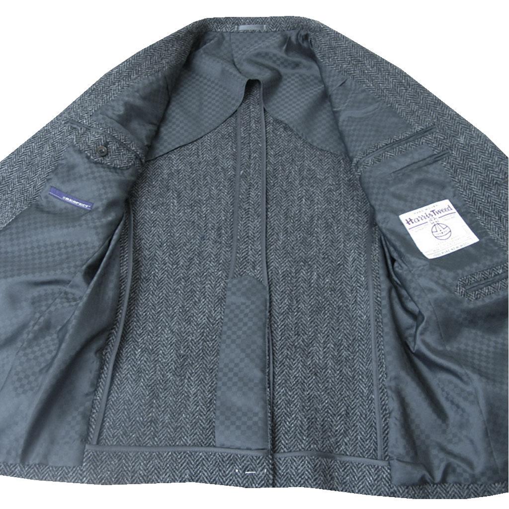RESPECT 秋冬 ハリスツイード ジャケット チャコールグレーヘリンボーン 2つボタン メンズ ブレザー 8618 A5 A6