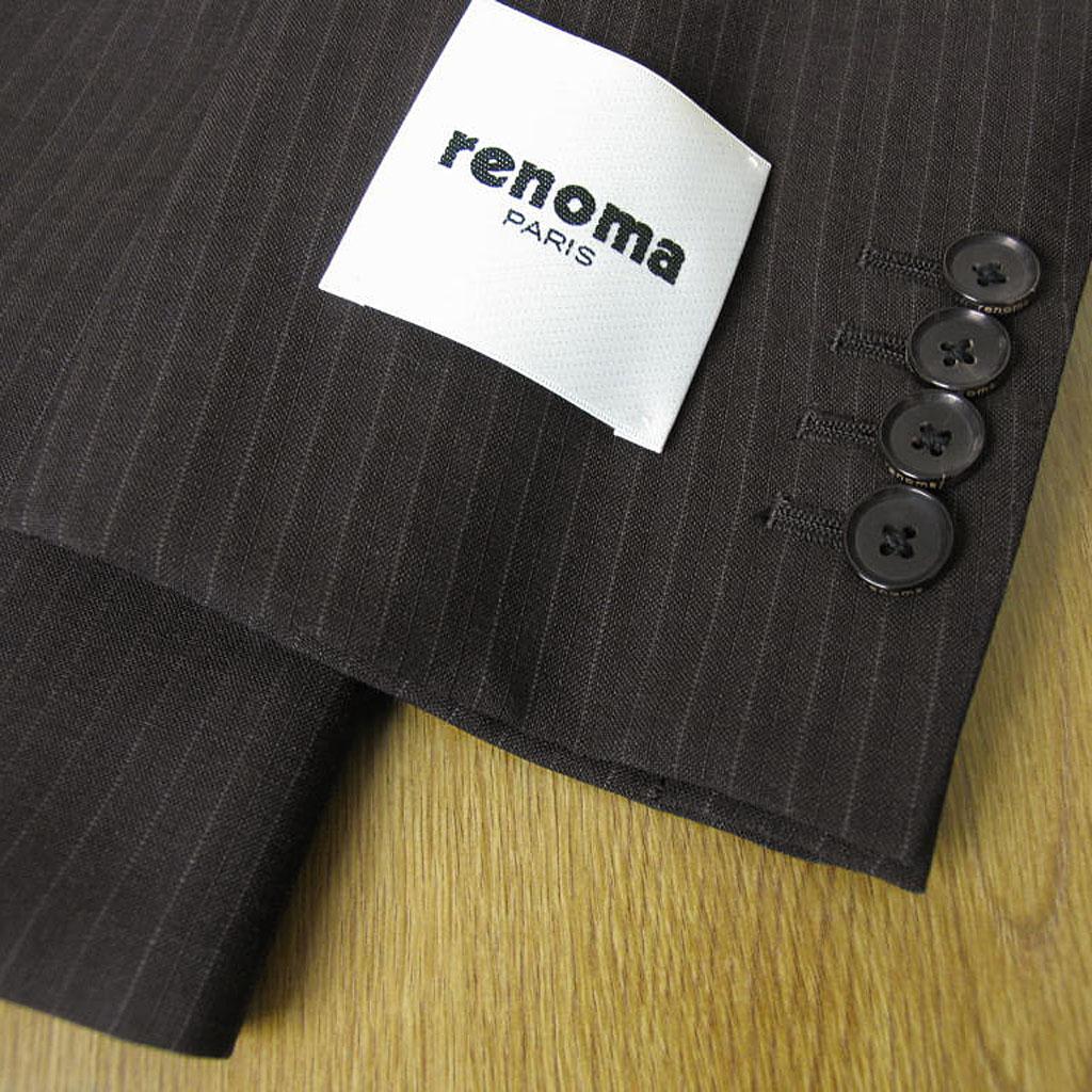 renoma PARIS(レノマ・パリス)の春夏2つボタンスーツ ダークブラウン ストライプ 5958 AB7