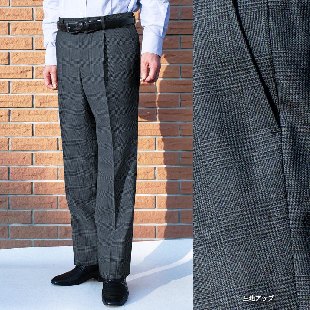秋冬 グレンチェック チャコールグレー パンツ【ウール100%】 メンズ ビジネス THEO DORE 1018   80cm 82cm 84cm 88cm 100cm 102cm