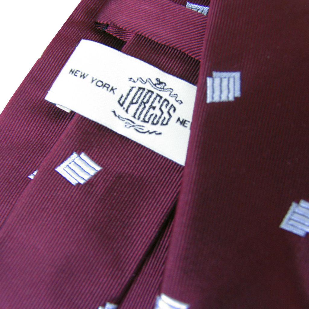 J.PRESS(ジェイプレス) ネクタイ 絹100% ワインレッド×ホワイト J7815