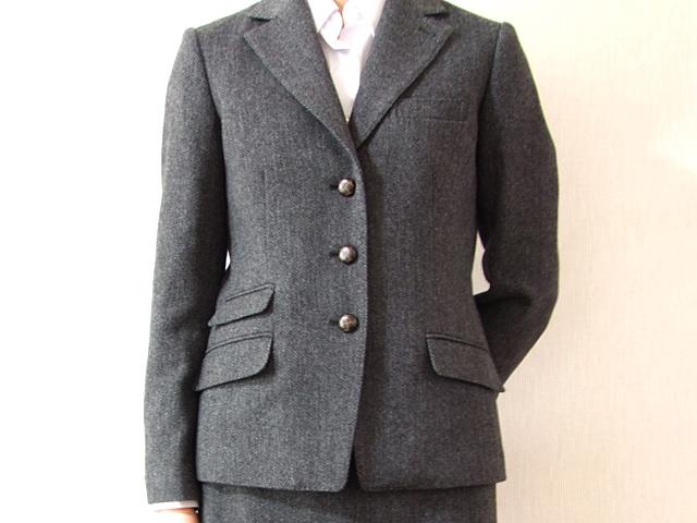 レディースOXFORD CLASSICの秋冬春メンズ仕立てツイードジャケット チェンジポケット付き 7号 9号 11号