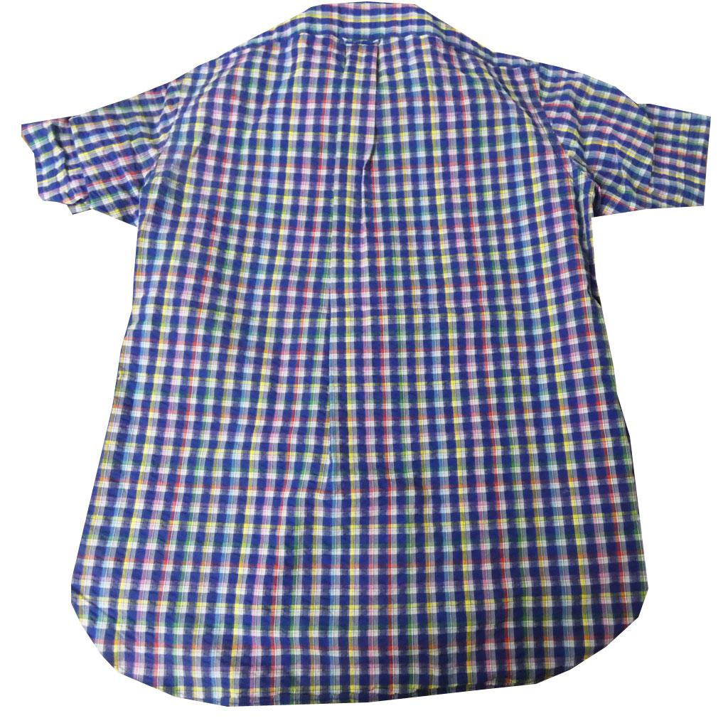 J.PRESS(ジェイプレス) ボタンダウン シアサッカー メンズ 半袖シャツ ネイビー ギンガムチェック  4970 M L