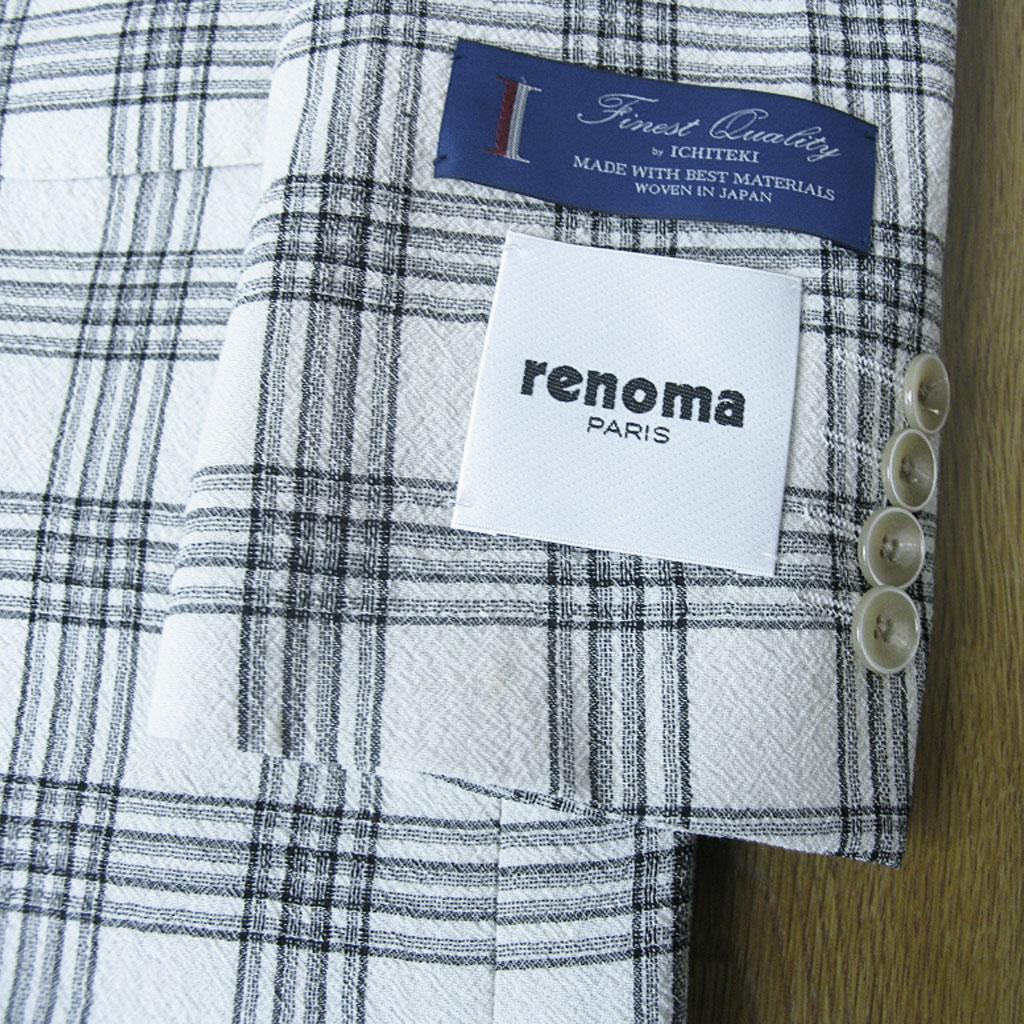 renoma PARIS(レノマ・パリス)の春夏2つボタンジャケット ホワイト チェック 1205  A4 A6 AB4