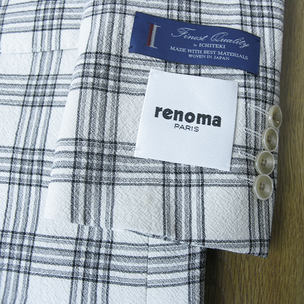 renoma PARIS(レノマパリス) ジャケット メンズ 春夏 2つボタン チェック ホワイト 1205 A4 A5 A6