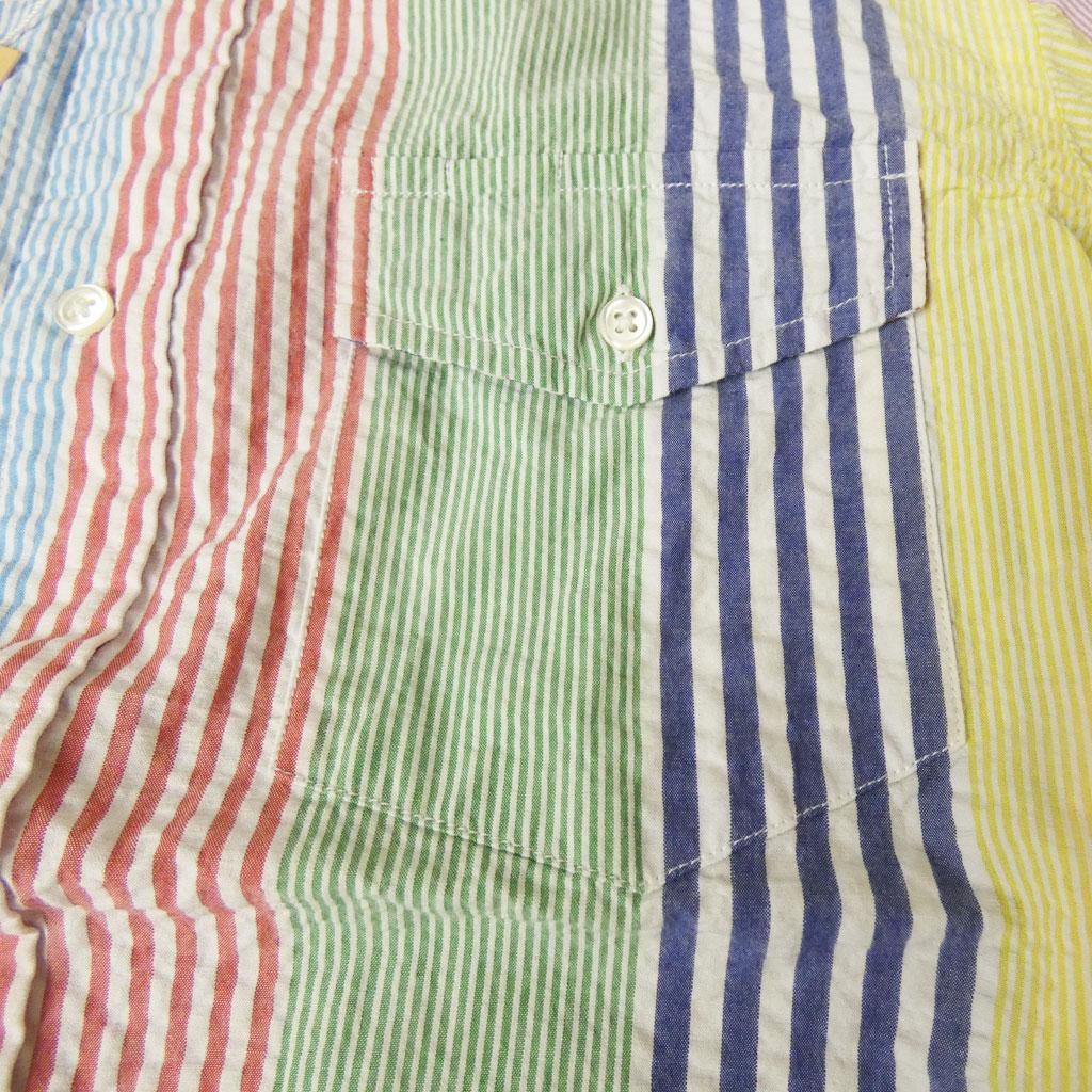 J.PRESS(ジェイプレス) ボタンダウン シアサッカー メンズ 半袖シャツ マルチストライプ  4870 M L XL