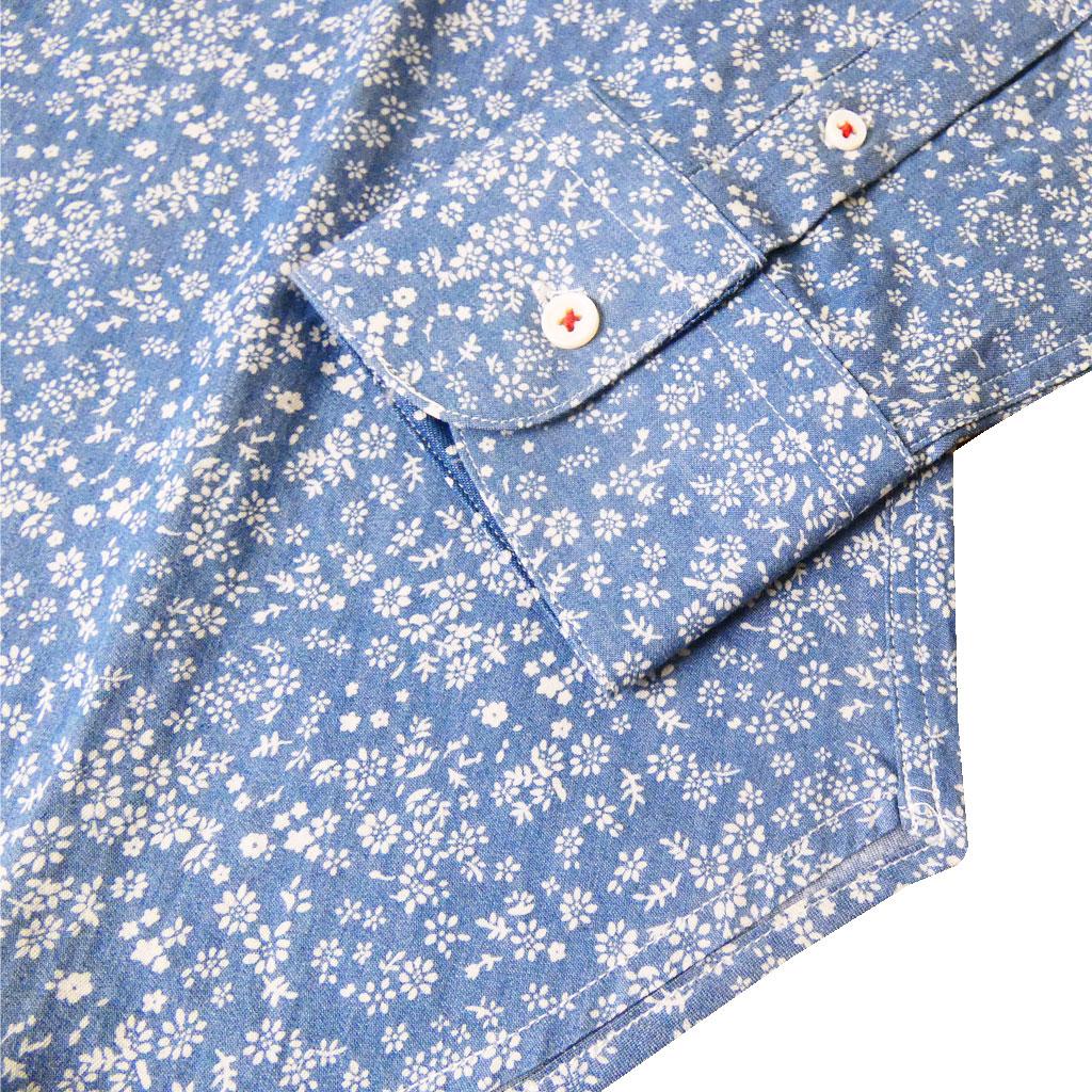Sheltie Clubの長袖ワイドカラーシャツ サックスブルー 1080 M  L